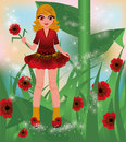 Young red poppy girl vector illustration Royalty Free Stock Photography
