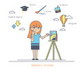 Young redhair girl using a tablet pc and drawing picture on the screen Royalty Free Stock Photo