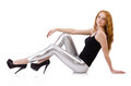 Young redhead girl in tight leggings Stock Photo