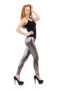 Young redhead girl in tight leggings Royalty Free Stock Images