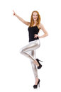 Young redhead girl in tight leggings Stock Images