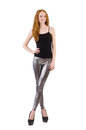 Young redhead girl in tight leggings Stock Photos