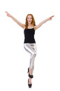 Young redhead girl in tight leggings Royalty Free Stock Photography