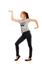Young redhead teenager performing hip hop dancing steps Royalty Free Stock Photos