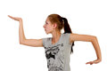 Young redhead teenager performing hip hop dancing steps Royalty Free Stock Images