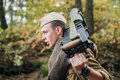 Young Reenactor Man Dressed As Russian Soviet Red Army Infantry