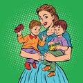 Young retro mom with two children boys