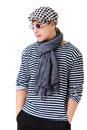 Young retro stylish man striped clothes glasses hat isolated white background Stock Photography