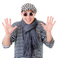Young retro stylish twister man striped clothes isolated white background Stock Photo