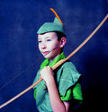Young robin hood with an english long bow Stock Images