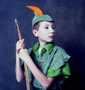 Young robin hood with an english long bow Royalty Free Stock Photo