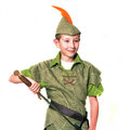 Young robin hood with sword isolated over white Royalty Free Stock Image