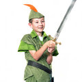 Young robin hood with a sword isolated over white Royalty Free Stock Photo