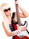 Young rock woman play guitar isolated over white Stock Photos