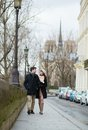 Young romantic couple walking together paris Royalty Free Stock Images