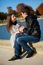 Young romantic couple at warm sunny autumn day Royalty Free Stock Image