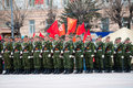 Young Russian soldiers at parade Stock Image