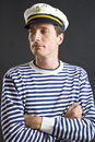 Young sailor man with white cap Royalty Free Stock Photography
