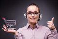 The young sales operator in telesales teleshopping concept Royalty Free Stock Photo