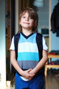 Young schoolboy with his backpack Royalty Free Stock Image
