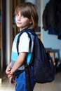 Young schoolboy with his backpack Royalty Free Stock Photo