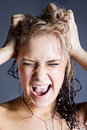 Young screaming blonde woman Royalty Free Stock Image