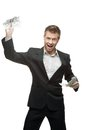 Young screaming businessman holding money Stock Images