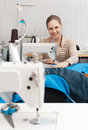 Young seamstress at work Royalty Free Stock Photo