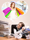 Young secretary lot folders sleeping dreaming shopping Stock Photography