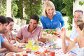 Young And Senior Couples Enjoying A Meal Royalty Free Stock Images