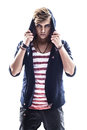 Young serious hooded man teen boy on white background Royalty Free Stock Photo