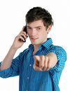 Young serious man pointing Stock Photo