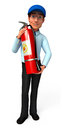 Young Service Man with fire extinguisher Royalty Free Stock Images
