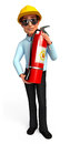Young Service man with fire extinguisher bag Stock Photo