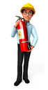 Young service man with fire extinguisher d rendered illustration of Stock Image