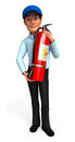 Young service man with fire extinguisher d rendered illustration of Royalty Free Stock Photography