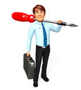Young service man with screw driver d rendered illustration of Stock Photography