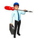 Young service man with screw driver d rendered illustration of Stock Photos