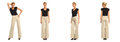 Young sexy blond woman in brown trousers isolated Royalty Free Stock Photo