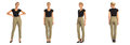 Young sexy blond woman in khaki trousers isolated Royalty Free Stock Photo