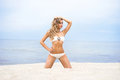 Young and sexy blond woman posing on the beach sporty beautiful a tropical Stock Images