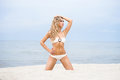 Young and sexy blond woman posing on the beach sporty beautiful a tropical Royalty Free Stock Photo
