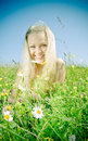 Young  Sexy  blonde   on  meadow with camomile Royalty Free Stock Photo