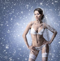 A young and sexy bride posing in erotic clothes Royalty Free Stock Photo