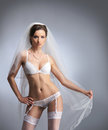 A young and sexy bride in white erotic lingerie Stock Images