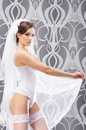 A young and sexy brunette bride in white erotic lingerie Stock Photos