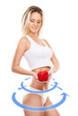 Young sexy girl with exotic fruit isolated on white female body the drawing arrows it healthy eating concept Royalty Free Stock Photo