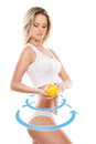 Young sexy girl with exotic fruit isolated on white female body the drawing arrows it healthy eating concept Stock Photos
