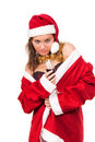 Young sexy Santa Girl with glass of wine Royalty Free Stock Photos
