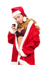 Young sexy Santa Girl with glass of wine Stock Images